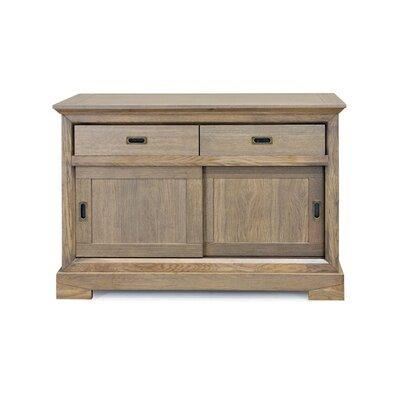 Bahut 2 portes coulissantes et 2 tiroirs en chêne