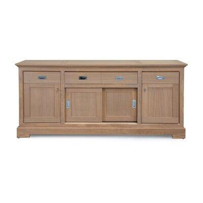 Bahut 4 portes 3 tiroirs en chêne massif couleur amande