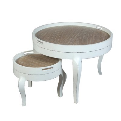 Set de deux tables rondes coloris blanc
