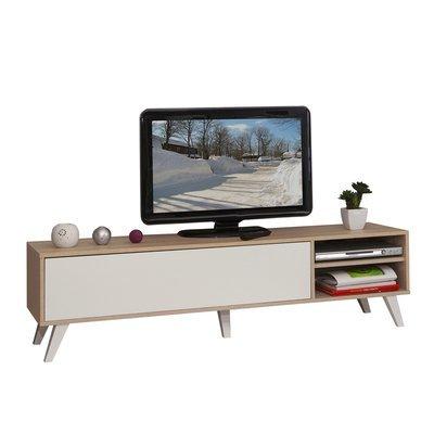 Meuble tv pieds inclinés 1 abattant chêne et blanc - STORAN