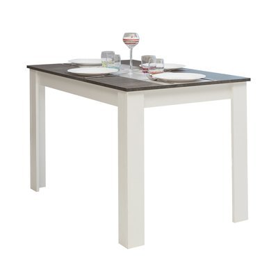 table de repas 110 cm pieds blancs et plateau blanc modern maison et styles. Black Bedroom Furniture Sets. Home Design Ideas