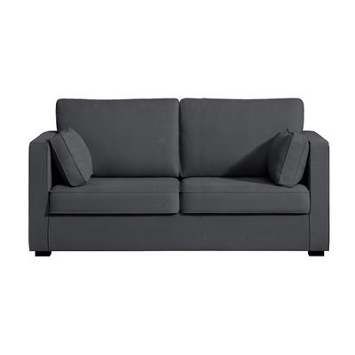 Canapé 2 places fixes - 100% coton - coloris anthracite LOIS