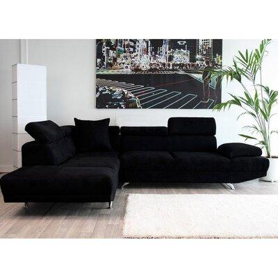 Canapé d'angle fixe à gauche 3 places en microfibre, coloris noir