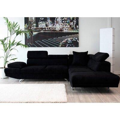 Canapé d'angle fixe à droite 3 places en microfibre, coloris noir
