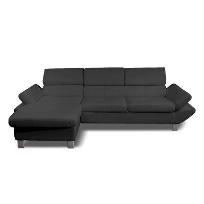 Canapé d'angle à gauche fixe 3 places en PU gris anthracite