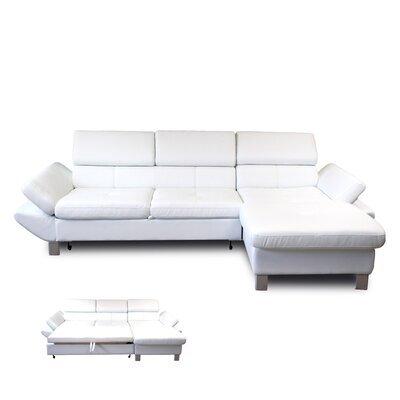 Canapé d'angle à droite convertible 3 places en PU blanc