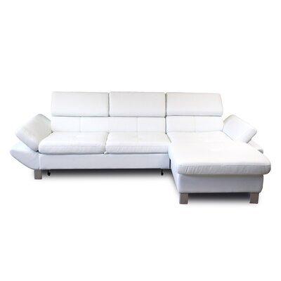 Canapé d'angle fixe à droite 3 places en PU blanc