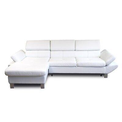 Canapé d'angle fixe à gauche 3 places en PU blanc