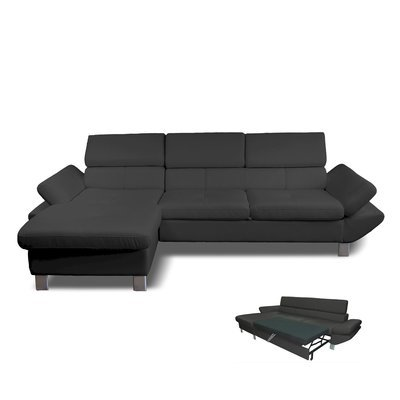 Canapé d'angle convertible à gauche 3 places en PU gris anthracite