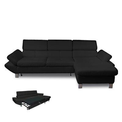 Canapé d'angle convertible à droite 3 places en PU noir