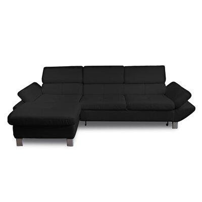 Canapé d'angle à gauche fixe 3 places en PU noir