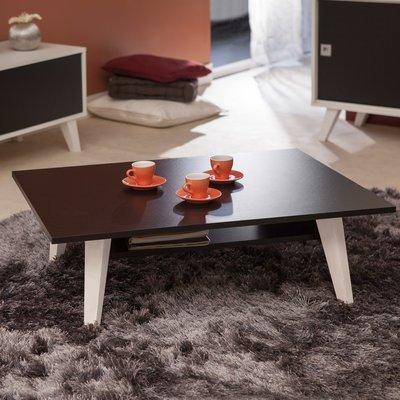 Table basse avec range revue sur pieds inclinés plateau noir