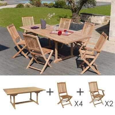 Ensemble en teck: une table rectangulaire, 4 chaises et 2 fauteuils