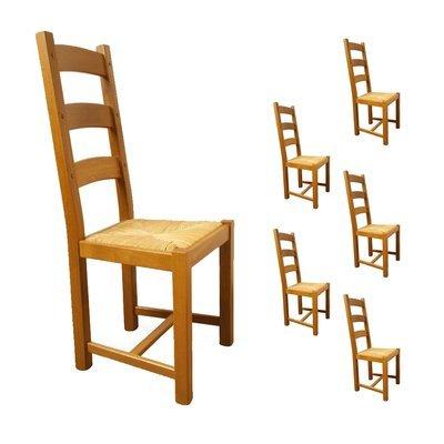 Lot de 6 chaises Chêne assise paille Teinte chêne moyen
