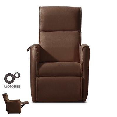 Fauteuil de relaxation motorisé - microfibre coloris chocolat