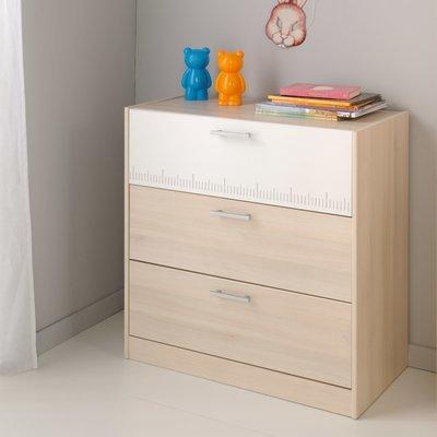 Commode 3 tiroirs 78x40x82cm coloris acacia clair et blanc