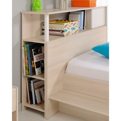 Encadrement lit avec rangement 123x29x93cm décor acacia et blanc