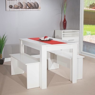 Ensemble 2 bancs + table 4 personnes blanc - MODERN