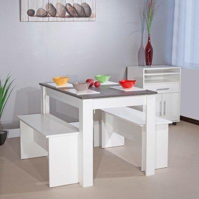Ensemble 2 bancs + table 4 personnes blanc et béton - MODERN