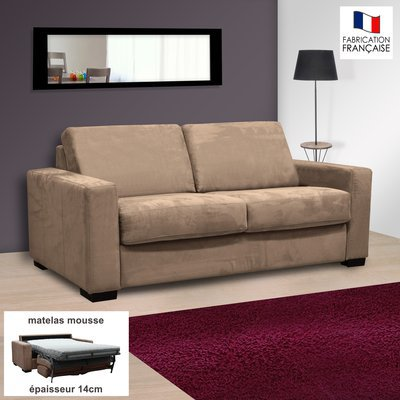 Canapé 2 places convertible 14cm microfibre coloris sable LOUISA