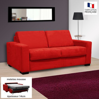Canapé 2 places convertible 14cm microfibre coloris rouge LOUISA