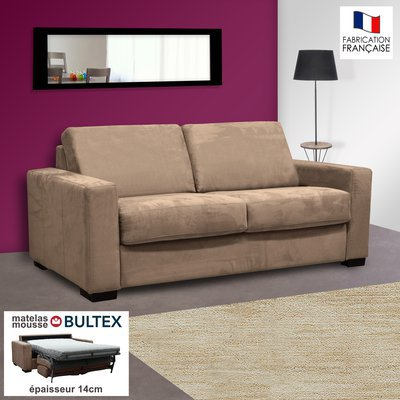 Canapé 2 places convertible bultex microfibre coloris sable LOUISA