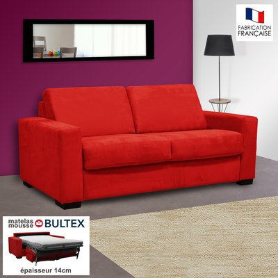 Canapé 2 places convertible bultex microfibre coloris rouge LOUISA