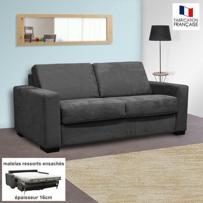 Canapé 2 places convertible 16cm ressorts microfibre  anthracite LOUISA