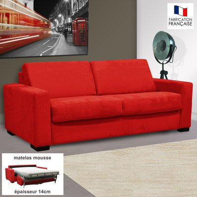 Canapé 3 places convertible 14cm microfibre coloris rouge LOUISA