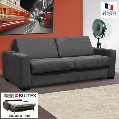 Canapé 3 places convertible bultex microfibre anthracite LOUISA