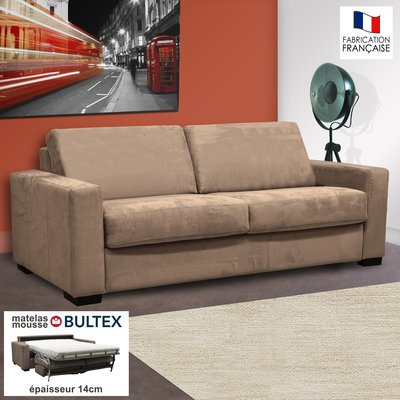 Canapé 3 places convertible bultex microfibre coloris sable LOUISA