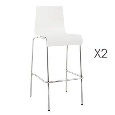 Lot de 2 tabourets de bar design 51x52x103cm COBA - blanc