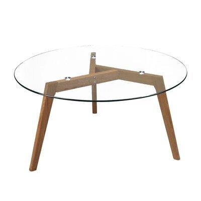 Table basse ronde, diamètre 90cm, en chêne, plateau en verre