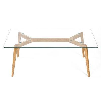 Table basse 120x60x45cm, en chêne, plateau en verre