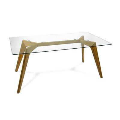 Table en bois 180x90x75cm, plateau en verre