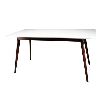 Table à manger 160x80x75cm en noyer, pieds inclinés plateau blanc