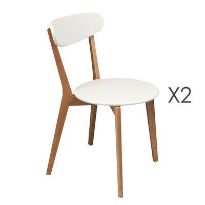 Lot de 2 chaises, pieds bois, assise blanche coloris hêtre