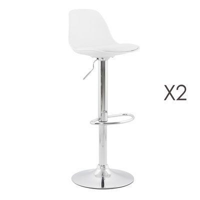 Lot de 2 tabourets de bar design 39x42x104cm blanc - SUK
