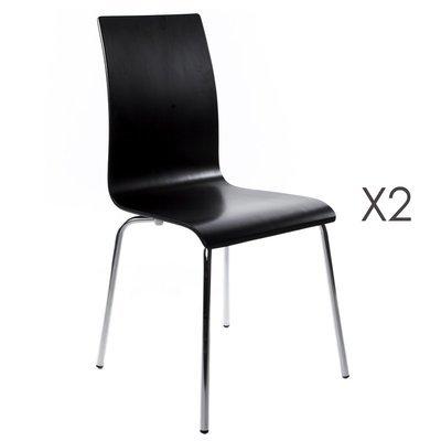 Lot de 2 chaises design 41x48x88cm CLASSICO - noir