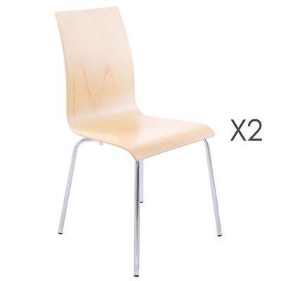 Lot de 2 chaises design 41x48x88cm CLASSICO - crème