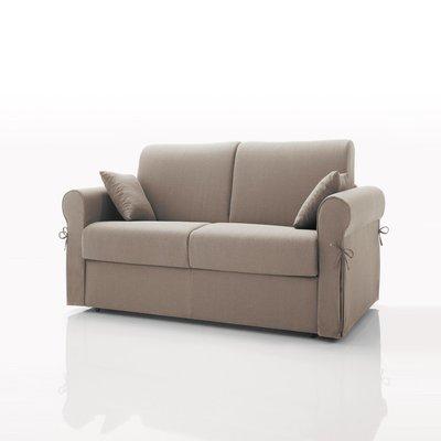 Canapé convertible 2 places, tissu déhoussable - beige