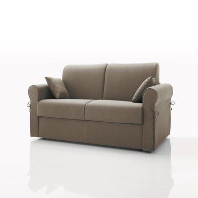 Canapé convertible 2 places, tissu déhoussable - café