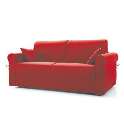 Canapé convertible 3 places, tissu déhoussable - rouge