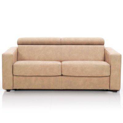 Canapé convertible 3 places, tissu déhoussable - beige