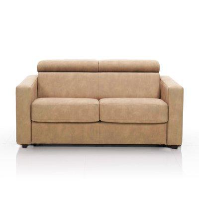 Canapé convertible 3 places, tissu déhoussable - café