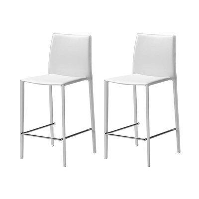 Lot de 2 chaises de bar en cuir recyclé coloris blanc - BORA BORA