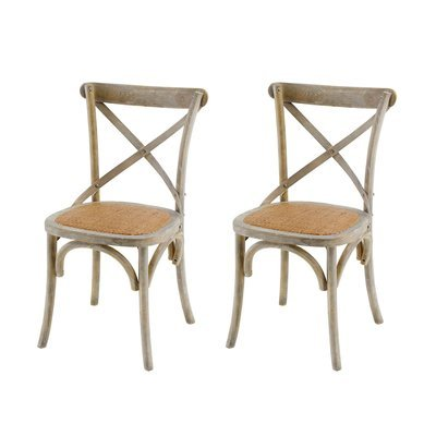 Lot de 2 chaises coloris naturel patiné - BISTRONO