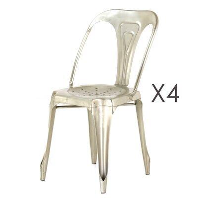 Lot de 4 chaises en métal argent  - TALY