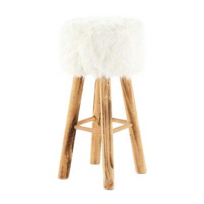 Tabouret de bar 68cm assise carrée fourrure blanche - OLIVE