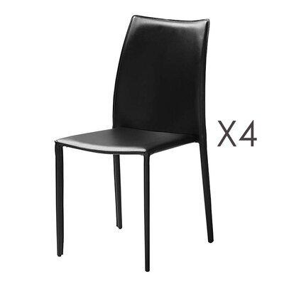 Lot de 4 chaises repas coloris noir  - KIMY